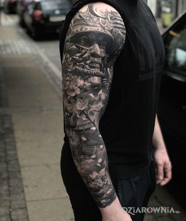 Tatuaż samuraj w motywie 3D i stylu realistyczne na przedramieniu