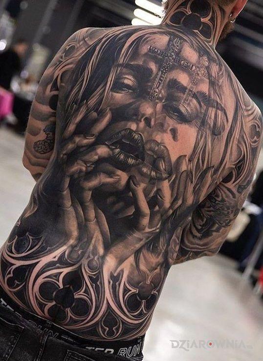 Tatuaż rozmyta twarz w motywie twarze i stylu realistyczne na plecach