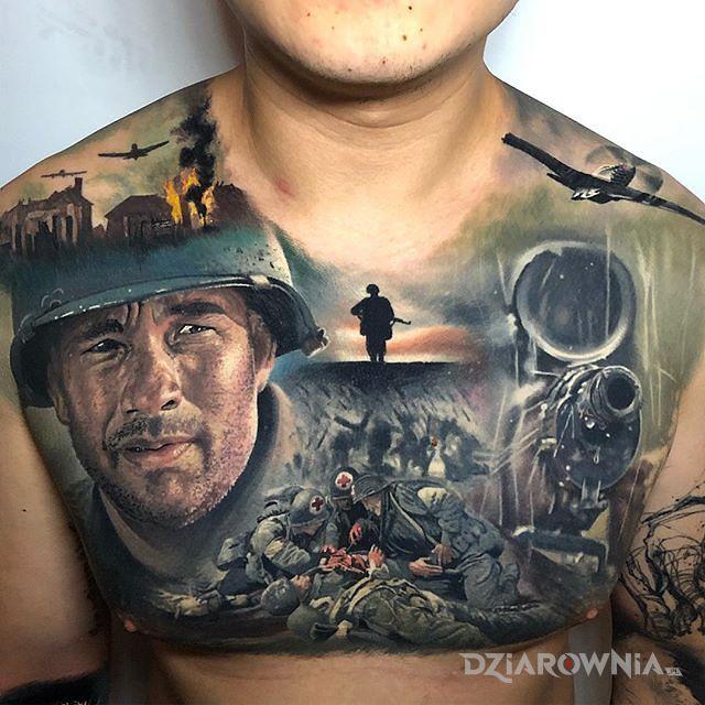 Tatuaż szeregowiec ryan - kolorowe