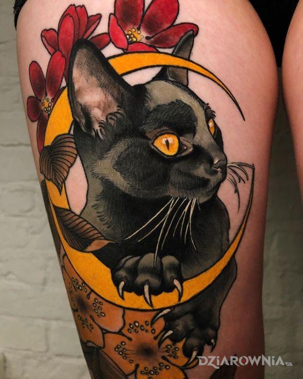 Tatuaż czarny kot - zwierzęta