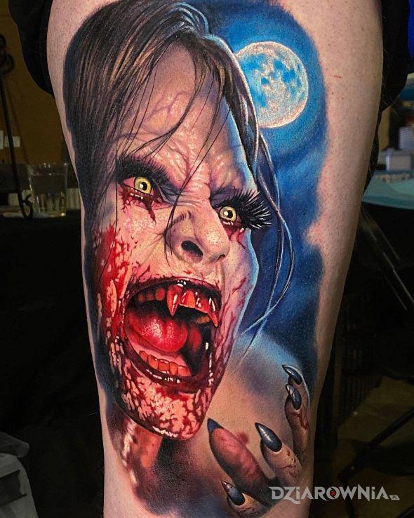 Tatuaż zakrwawiony wampir - demony