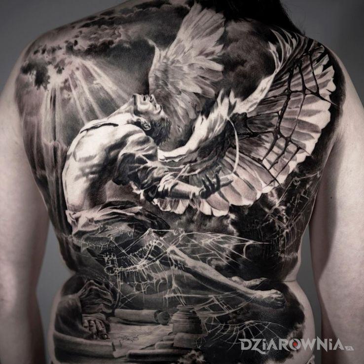 Tatuaż anioł w pajęczynie - 3D