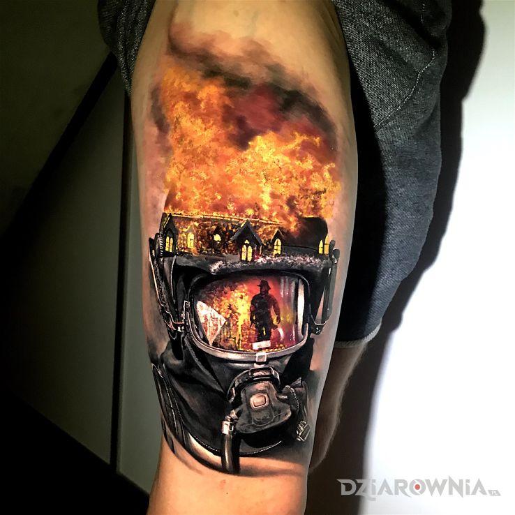 Tatuaż zawód strażaka - 3D