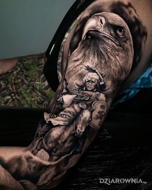 Tatuaż orzeł z indianinem - postacie