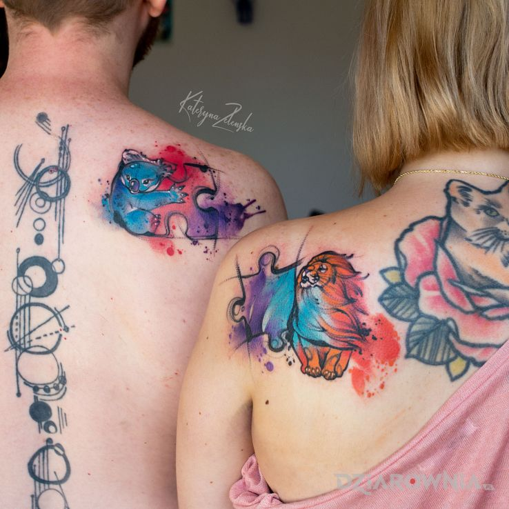 Tatuaż koala  lew  puzzle - zwierzęta