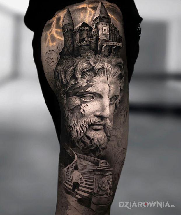 Tatuaż zamek na głowie - twarze