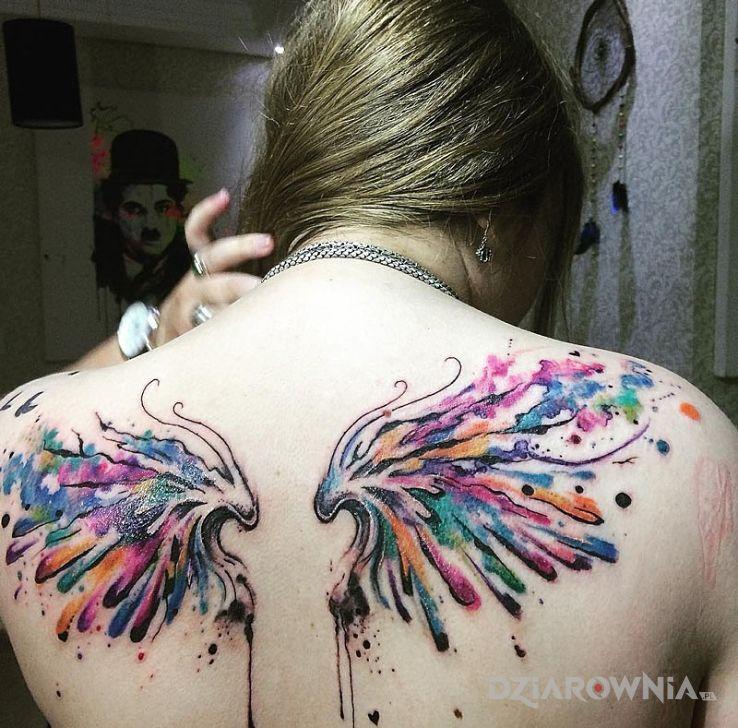 Tatuaż Kolorowe Skrzydła Autor Jedi Dziarowniapl