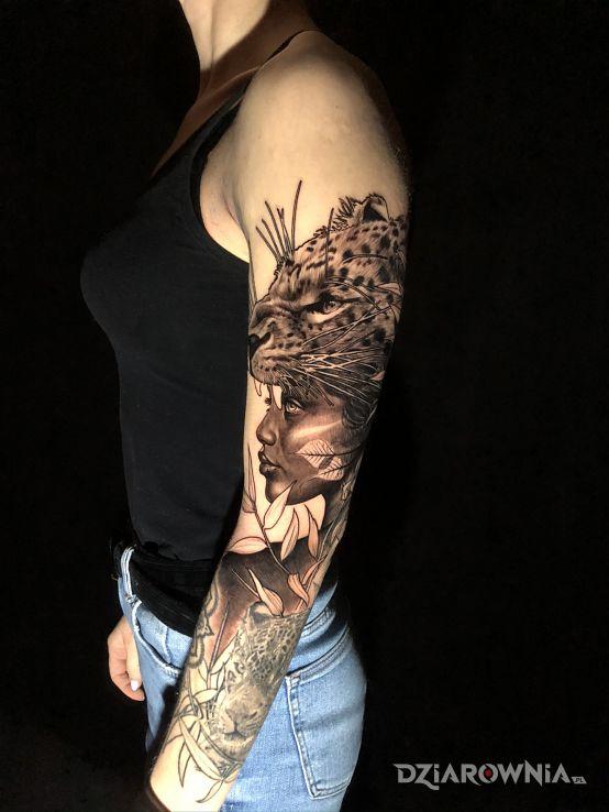 Tatuaż rękaw z portretami - zwierzęta