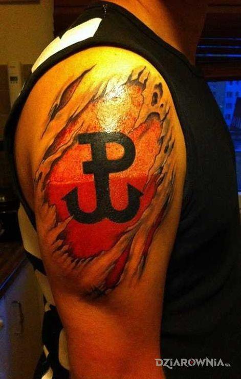 Tatuaż Znak Polski Walczącej Na Tle Flagi Autor Czarodziej