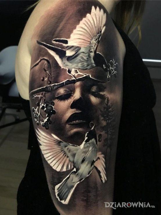 Tatuaż zmartwiona twarz - 3D