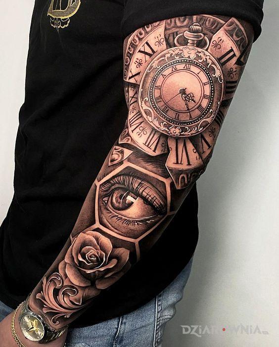 Tatuaż zegar kieszonkowy - kwiaty
