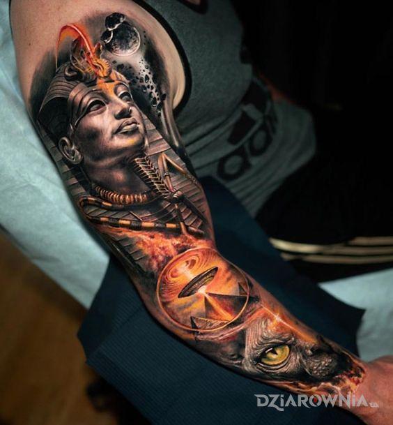 Tatuaż faraon i ufo - 3D