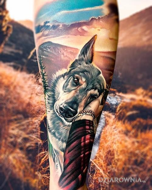Tatuaż psiak w motywie kolorowe i stylu realistyczne na łydce