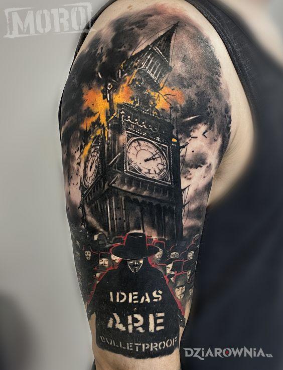 Tatuaż ideas are bulletproof vendetta w motywie mroczne i stylu realistyczne na ramieniu