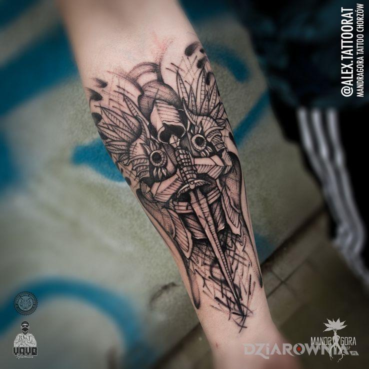 Tatuaż tyrael - diablo w motywie postacie i stylu graficzne / ilustracyjne na przedramieniu