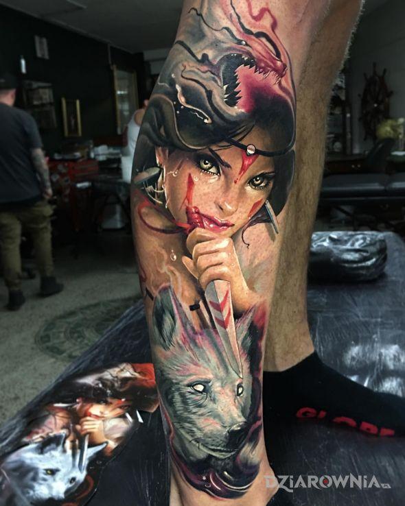 Tatuaż dziewczyna z wilkiem w motywie zwierzęta i stylu graficzne / ilustracyjne na łydce