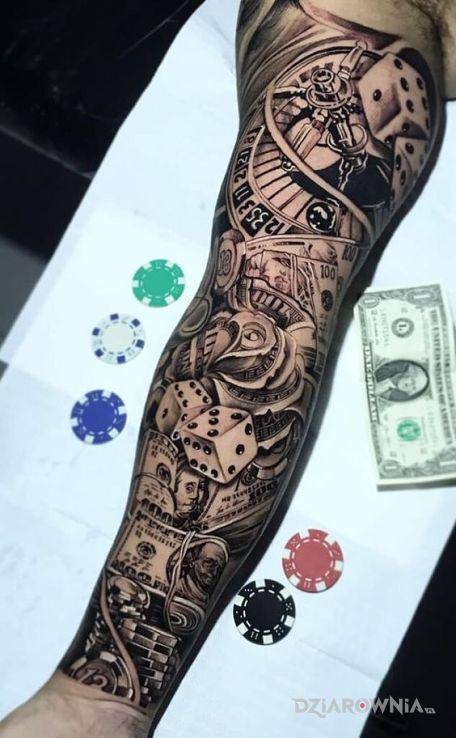 Tatuaż kasa z hazardu w motywie rękawy i stylu graficzne / ilustracyjne na ramieniu