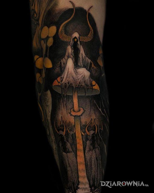 Tatuaż mroczny zakon w motywie kolorowe i stylu graficzne / ilustracyjne na łydce