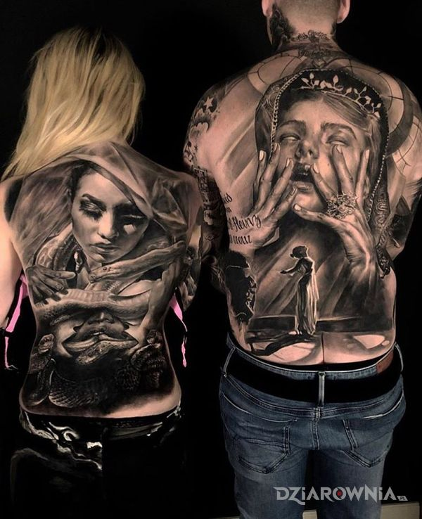 Tatuaż dla niej i dla niego w motywie twarze i stylu realistyczne na plecach