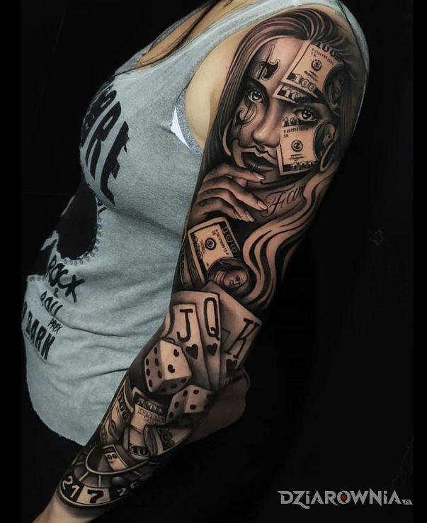 Tatuaż kasa w kasynie w motywie kasyno i stylu realistyczne na przedramieniu