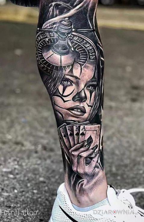 Tatuaż ruletka i poker - 3D
