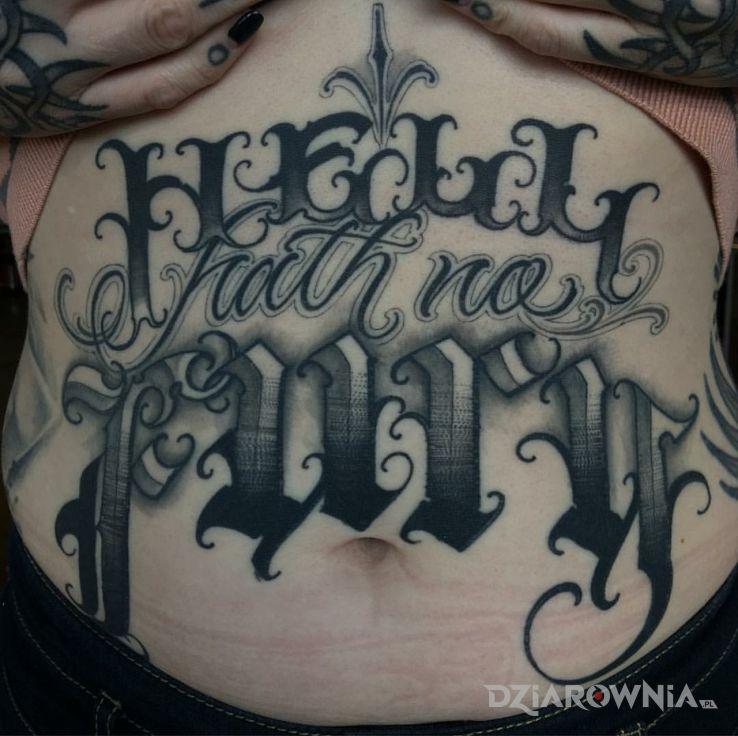 Tatuaż hell hath no furry - criminal lettering