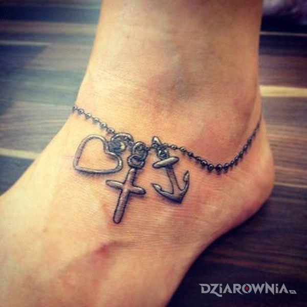 Tatuaż bransoletka w motywie pozostałe na stopie