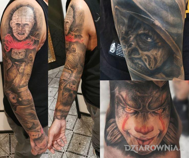 Tatuaż koszmary w motywie rękawy i stylu realistyczne na ramieniu