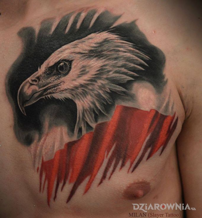 Tatuaż barwy biało-czerwone - patriotyczne