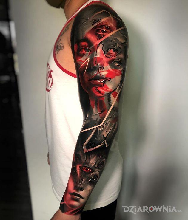 Tatuaż tyle oczu że widać wszystko w motywie 3D i stylu surrealistyczne na przedramieniu