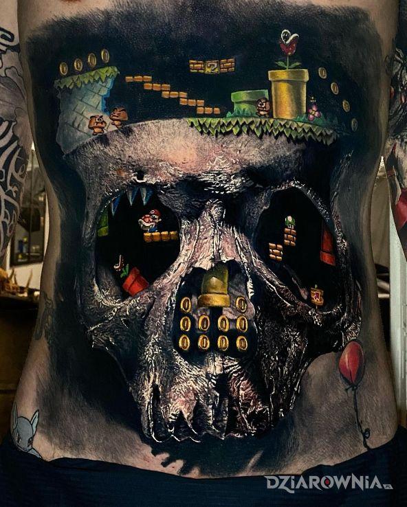 Tatuaż mario w motywie mroczne i stylu surrealistyczne na brzuchu