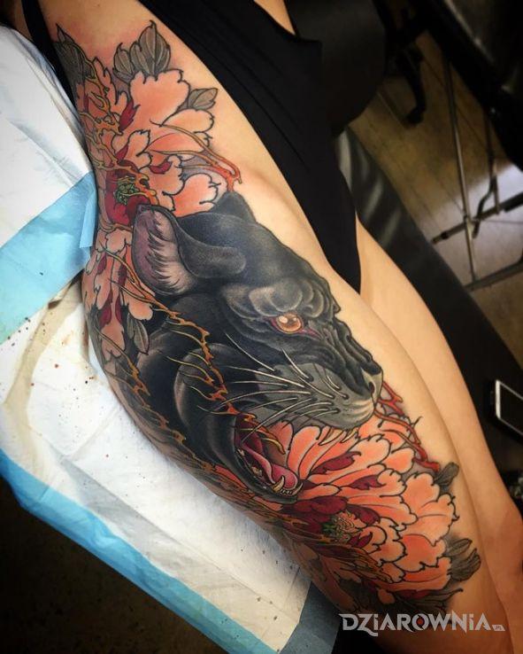 Tatuaż Czarna Pantera Autor Savastano Dziarowniapl