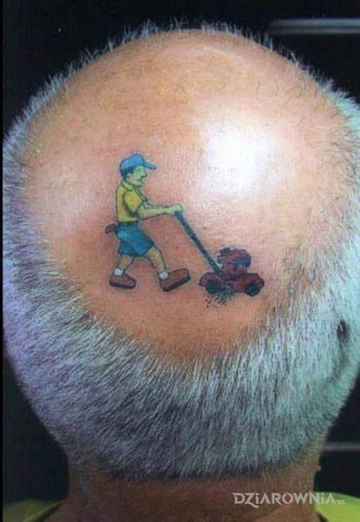 Tatuaż kosiarka w motywie kolorowe i stylu graficzne / ilustracyjne na głowie