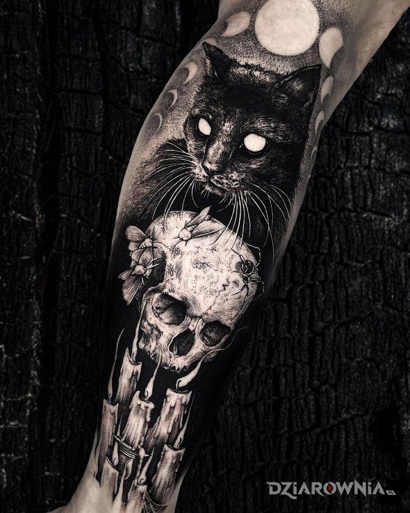 Tatuaż czarne kocisko w motywie przedmioty i stylu realistyczne na łydce