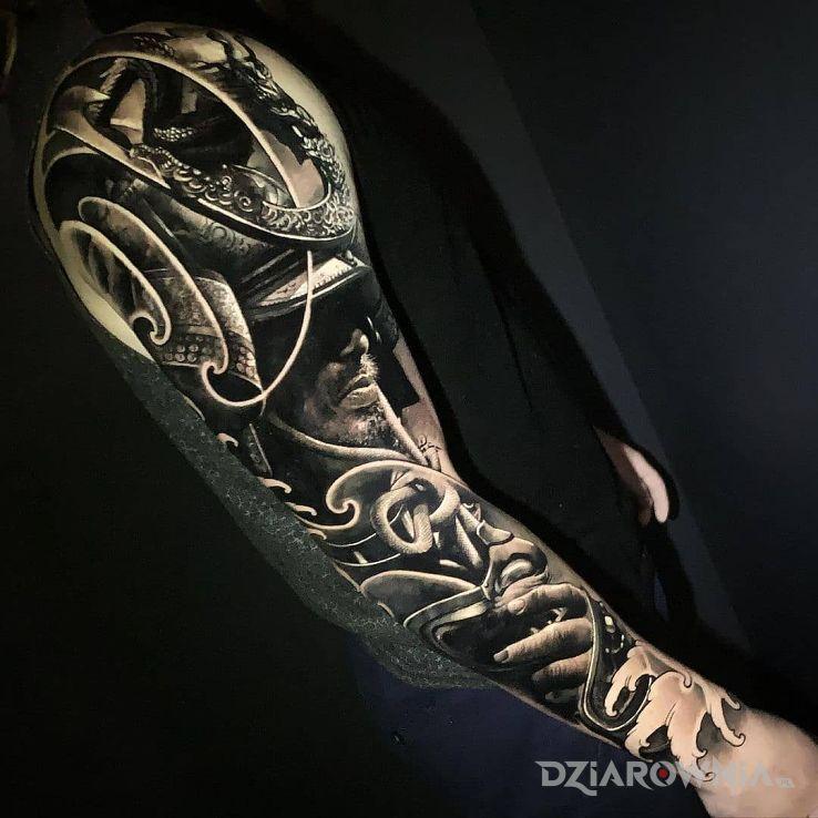 Tatuaż real samurai w motywie postacie i stylu realistyczne na przedramieniu