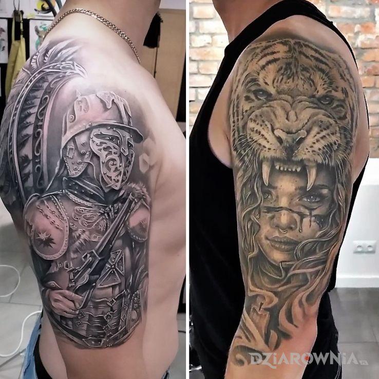 Tatuaż winged hussars pretty woman and tiger w motywie patriotyczne i stylu realistyczne na ramieniu