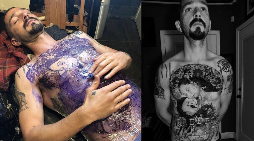 Shia LaBeouf i tatuaż na brzuchu i klatce piersiowej