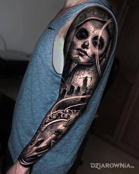Tatuaż santa muerte i cmentarz w motywie 3D i stylu realistyczne na ręce