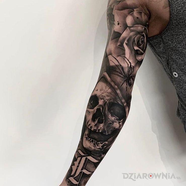 Tatuaż czaszka bez zębów w motywie czaszki i stylu realistyczne na ręce