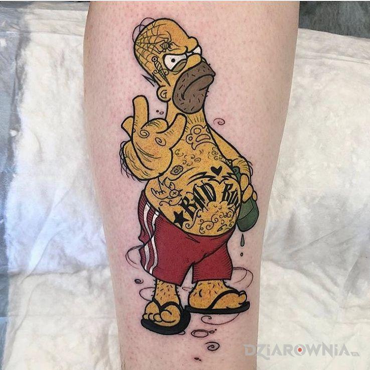 Tatuaż bad boy simpson w motywie kolorowe i stylu kreskówkowe / komiksowe na nodze