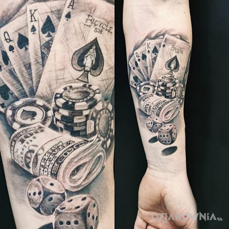 Tatuaż kasyno gra w motywie rękawy i stylu graficzne / ilustracyjne na ramieniu