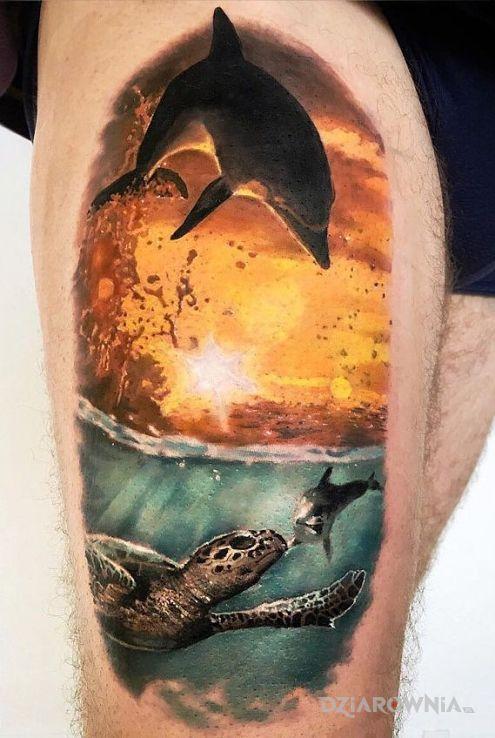Tatuaż Delfin I Zachód Słońca Autor He Man Dziarowniapl