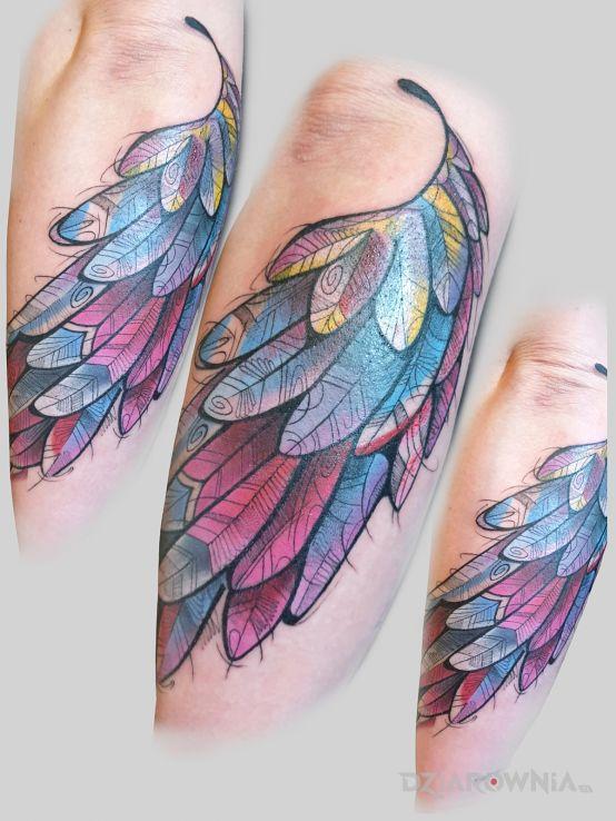 Tatuaż skrzydlo w motywie anioły i stylu rycinowe / grawiurowe na ręce