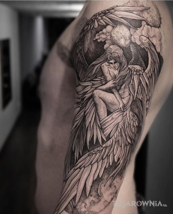 Tatuaż anielica w motywie anioły i stylu graficzne / ilustracyjne na ręce