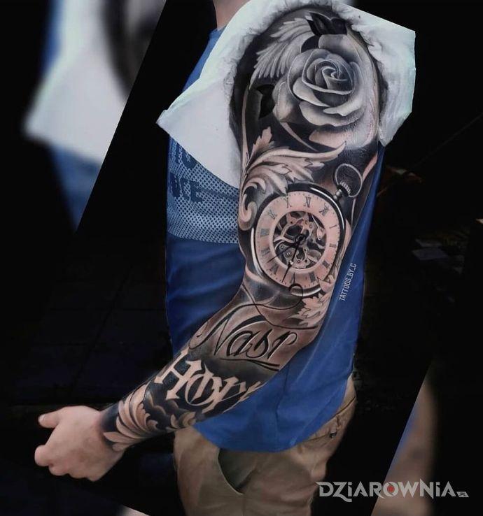 Tatuaż last hope w motywie rękawy i stylu realistyczne na przedramieniu