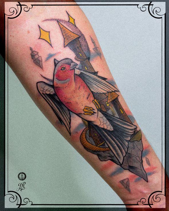 Tatuaż zięba w motywie zwierzęta i stylu neotradycyjne na ręce