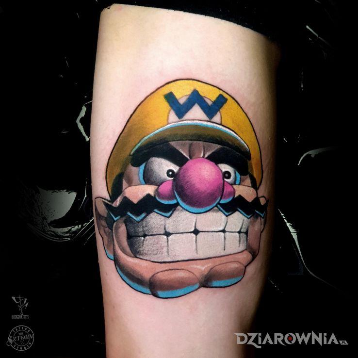Tatuaż wario od bogdan grubas w motywie śmieszne i stylu kreskówkowe / komiksowe na ramieniu