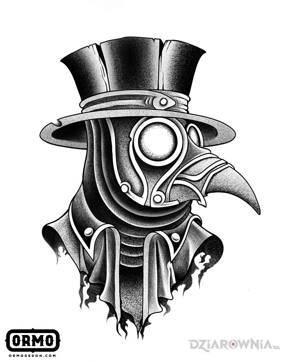 Wzór plague doctor od ormogedon tattoo - dotwork