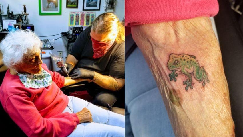 Dorothy Pollack w salonie tatuażu