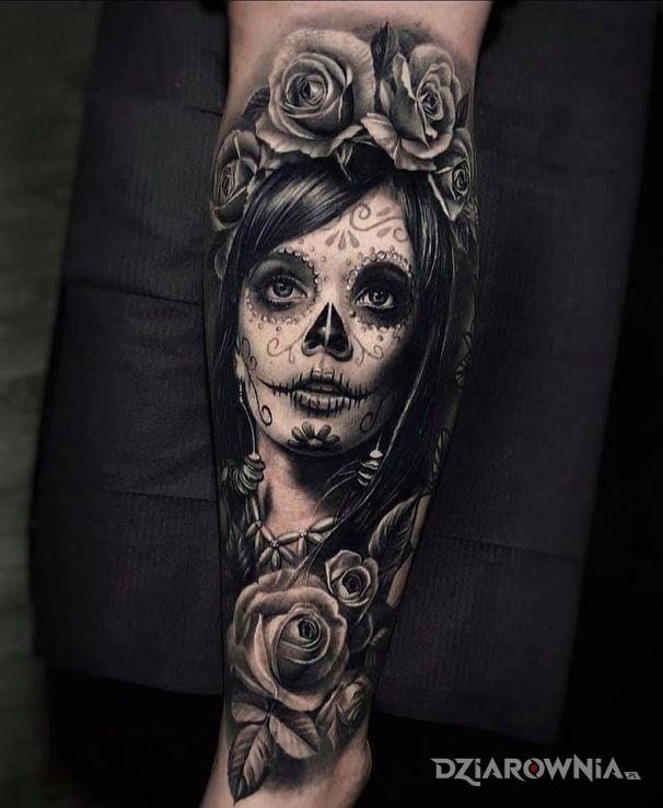 Tatuaż święta śmierć w motywie twarze i stylu realistyczne na ręce